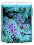 Blue Caladium Duvet Cover