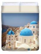 Blue Domed Churches Santorini Duvet Cover