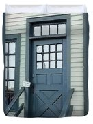 Blue Door At The Seaport Duvet Cover