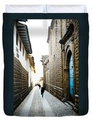 Blue Door In Cusco Duvet Cover by Darcy Michaelchuk