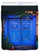 Blue Door In Old Town Duvet Cover