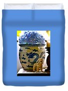 Blue Dragon And Hydrangeas Duvet Cover