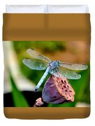 Blue Dragonfly On Lotus Seed Pod Back View Duvet Cover