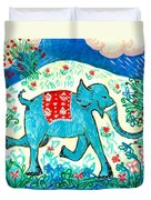 Blue Elephant Facing Right Duvet Cover by Sushila Burgess