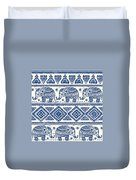 Blue Elephant With Ornaments Design Duvet Cover