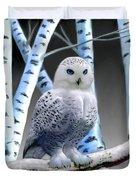 Blue-eyed Snow Owl Duvet Cover