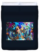 Blue Feather Carnival Costume And Colorful Background Horizontal Duvet Cover