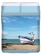 Blue Fishing Boat Duvet Cover