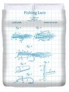 Blue Fishing Lure Patent Duvet Cover