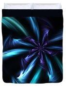 Blue Floral Fractal 12-30-09 Duvet Cover