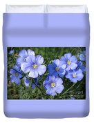 Blue Flowers In The Sun Duvet Cover