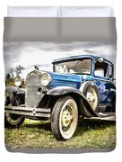 Blue Ford Model A Car Duvet Cover