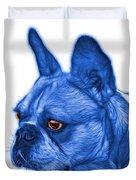 Blue French Bulldog Pop Art - 0755 Wb Duvet Cover