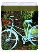 Blue Garden Bicycle Duvet Cover