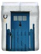 Blue Gate And Door On White House Duvet Cover