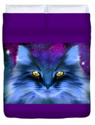 Blue Ghost Cat Duvet Cover