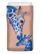 Blue Giraffes 2 Duvet Cover