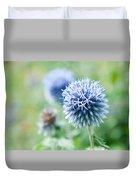 Blue Globe Thistle Flower Duvet Cover