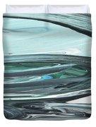 Blue Gray Brush Strokes Abstract Art For Interior Decor V Duvet Cover