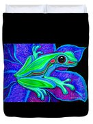 Blue Green Frog Duvet Cover