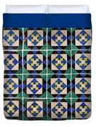 Blue Green Lisbon Tiles Souvenirs Duvet Cover