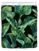 Blue Green Watercolor Tropical Leaves Duvet Cover