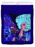 Blue Haired Girl On Windy Day Duvet Cover