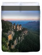 Blue Haze At Sunrise At Ecco Point In Blue Mountains Duvet Cover