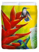 Blue-headed Hummingbirds And Heliconia Duvet Cover