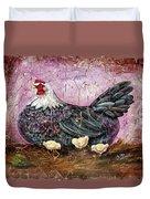 Blue Hen With Chicks Fresco Black Background Duvet Cover