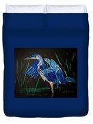 Blue Heron At Night Duvet Cover