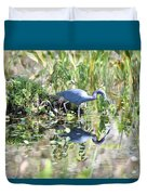 Blue Heron Fishing In A Pond In Bright Daylight Duvet Cover