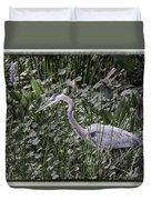 Blue Heron In Grass 4566 Duvet Cover
