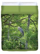 Blue Heron In Green Tree Duvet Cover