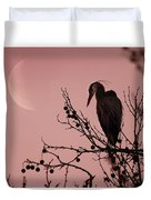 The Heron And The Moon Duvet Cover