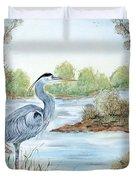 Blue Heron Of The Marshlands Duvet Cover