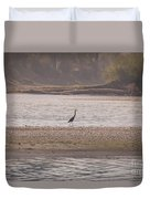 Blue Heron On The Yellowstone Duvet Cover