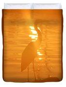 Blue Heron Sunrise Duvet Cover