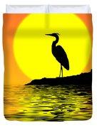 Blue Heron Sunset Duvet Cover