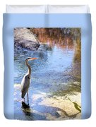 Blue Heron With Shadow Duvet Cover