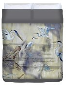 Great Blue Herons Chilling Duvet Cover