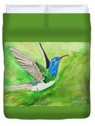 Blue Humming Bird Duvet Cover