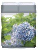 Blue Hydrangea At Rainy Garden In June, Japan Duvet Cover