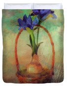 Blue Iris In A Basket Duvet Cover