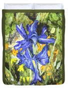 Blue Iris Painting Duvet Cover