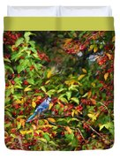 Blue Jay And Berries Duvet Cover
