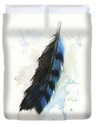 Blue Jay Feather Splash Duvet Cover by Brandy Woods