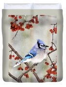 Blue Jay In Snowfall 3 Duvet Cover
