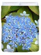 Blue Lacecap Hydrangeas Duvet Cover