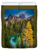 Blue Lake And Early Winter Spires Duvet Cover